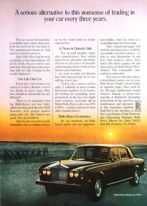 Serious alternative to nonsense Rolls-Royce ad 1975