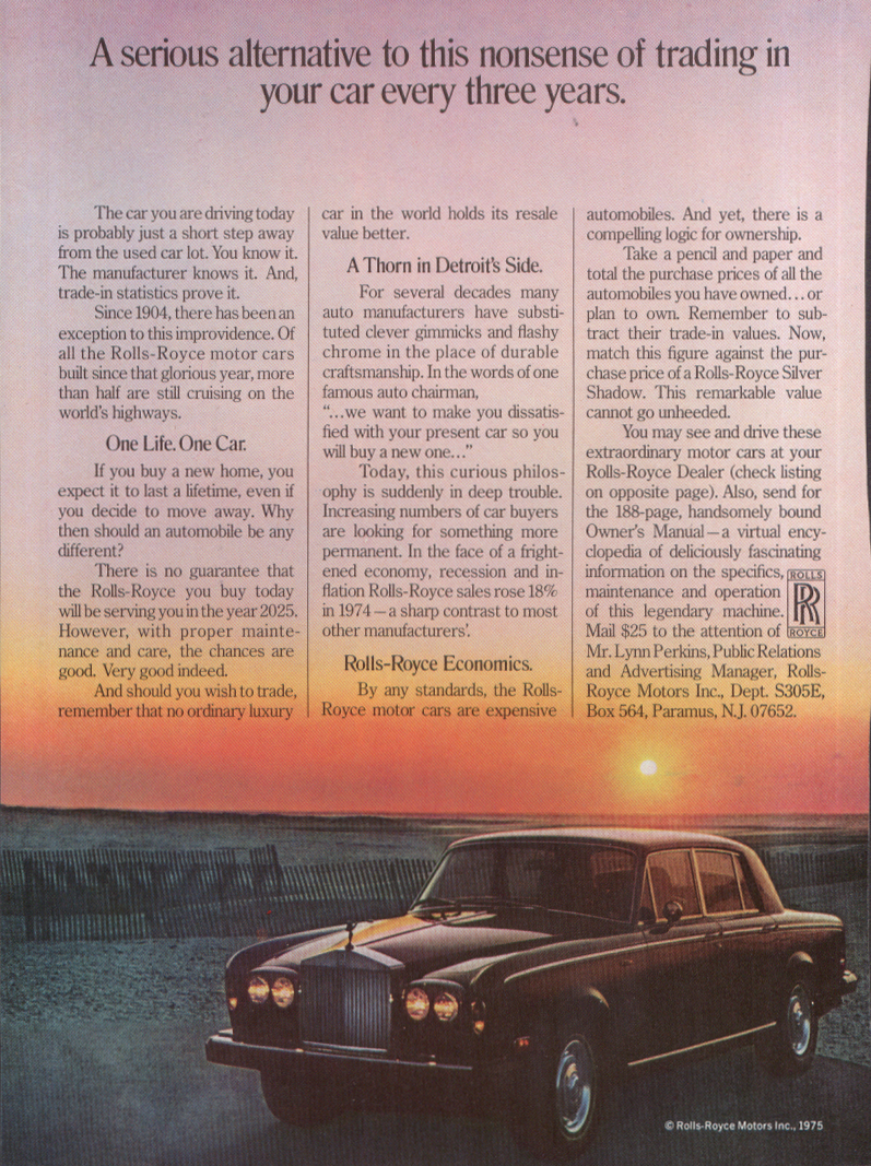 Image for A serious alternative to nonsense Rolls-Royce ad 1975