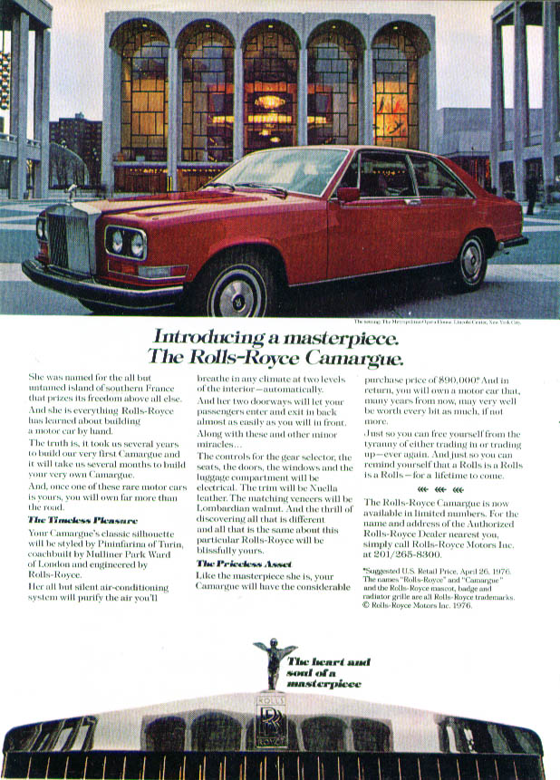 Introducing a masterpiece Rolls-Royce Camargue ad 1976 Fortune