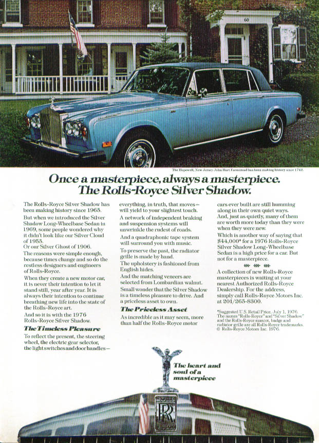 Always a masterpiece Rolls-Royce Silver Shadow ad 1976
