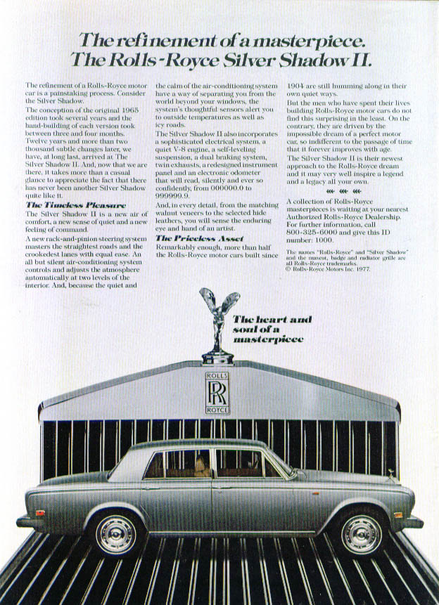 Refinement Rolls-Royce Silver Shadow II ad 1977