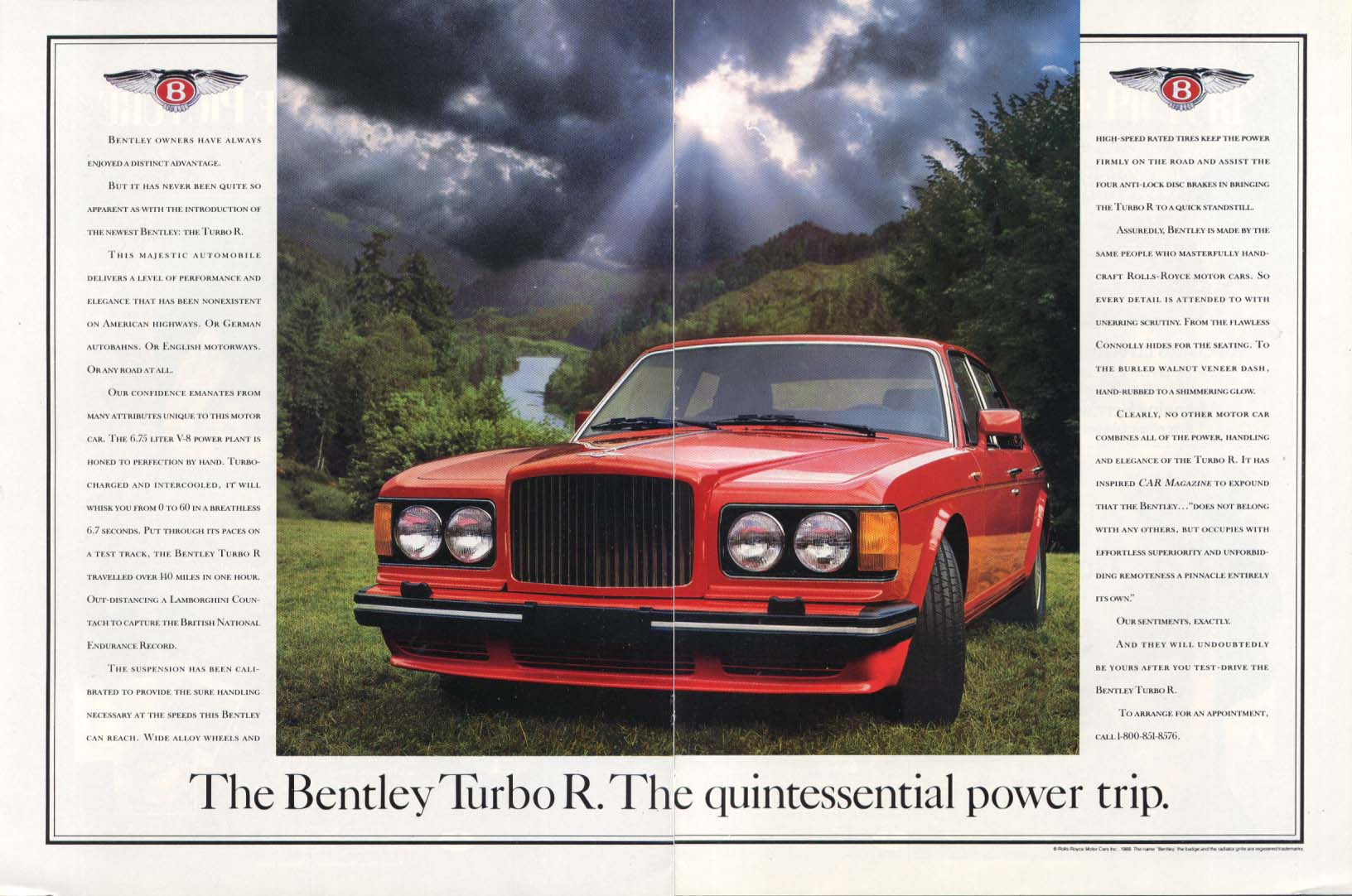 Image for The Bentley Turbo R Quintessential power trip ad 1988
