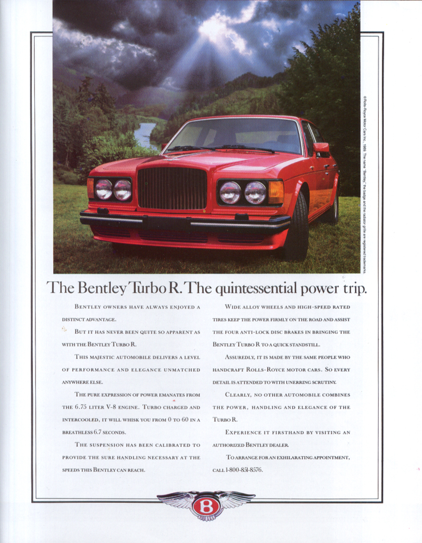 Image for The Bentley Turbo R The quintessential power trip ad 1990