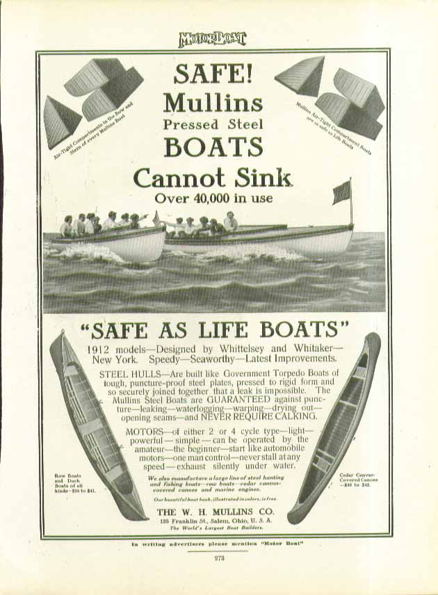 Image for Mullins Presssed Steel Boats Cannot Sink: Safe as Life Boats ad 1911