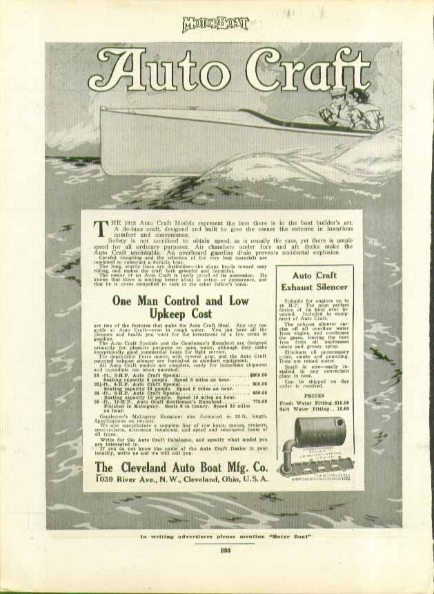 1912 Auto Craft Models represent the best there is Cleveland Auto Boat ad 1912