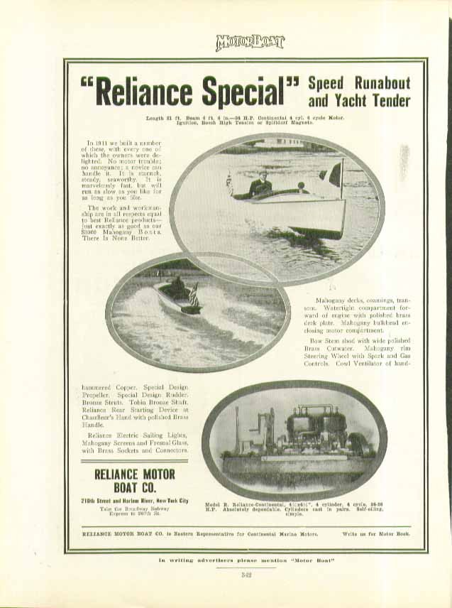 Image for Reliance Special Speed Runabout & Yacht Tender ad 1911
