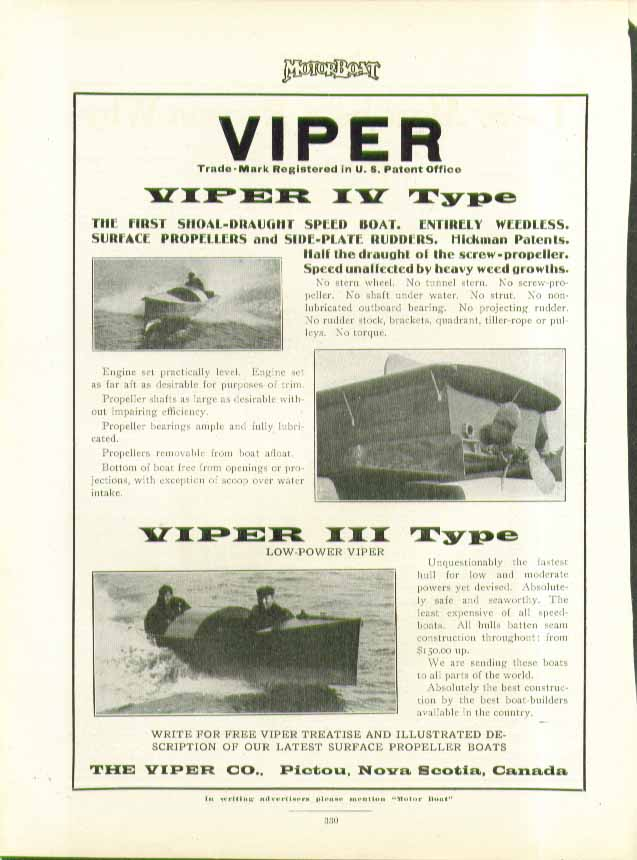 Image for Viper IV Type Shoal-Draught Speed Boat Viper III Type Pictou NS ad 1911