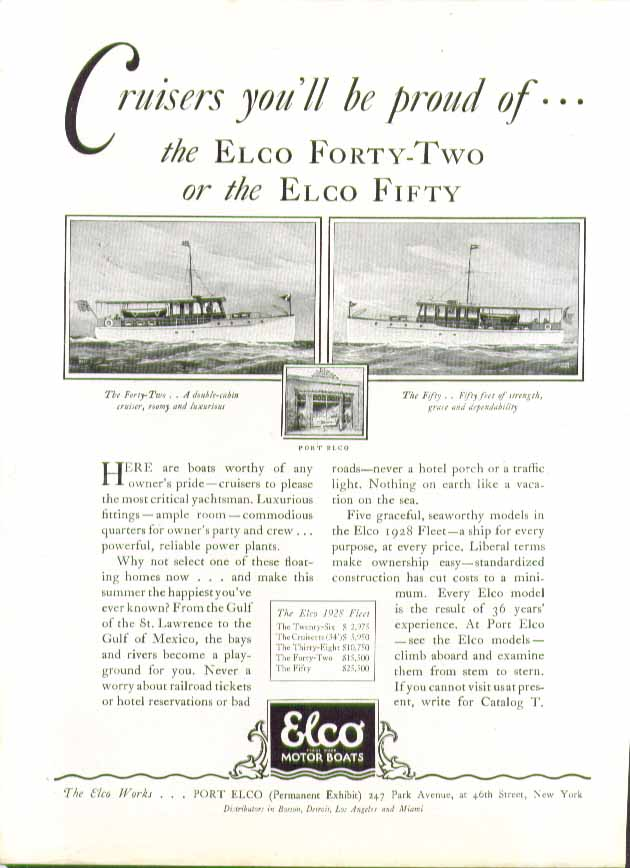 Cruisers you'll be proud of: Elco Forty-Two or the Elco Fifty ad 1928