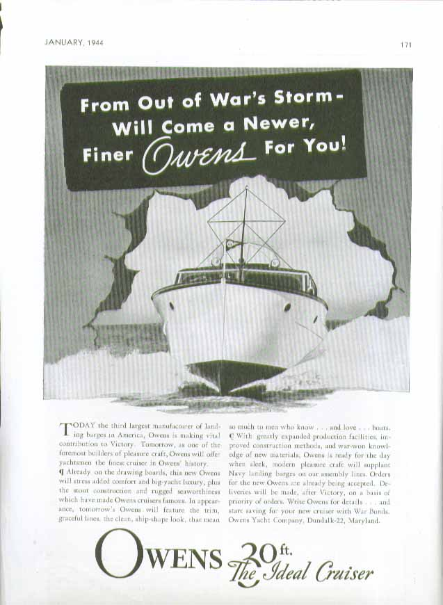 Image for Out of War's Storm will come a newer finer Owens 30ft Ideal Cruiser ad 1944