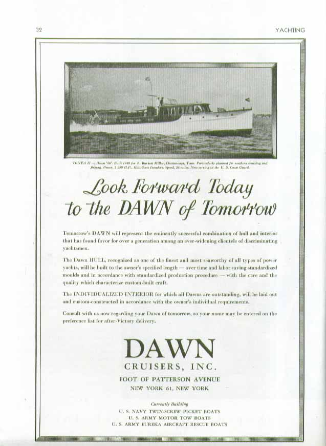 Image for Look forward today to the dawn of tomorrow Dawn Tonya II Cruiser ad 1944