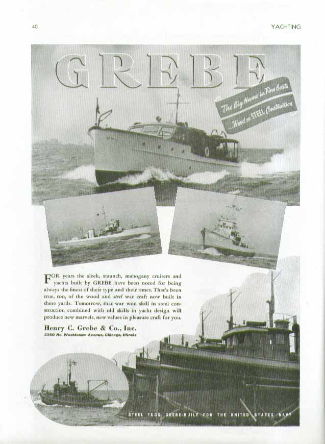 Image for For years the sleek staunch mahogany cruisers built by Grebe ad 1944