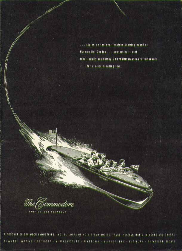 Image for Styled on the drawing board of Norman Bel Geddes The Gar Wood Commodore ad 1946