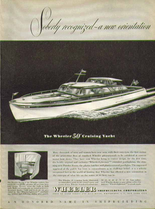 Image for Soberly recognized: a new orientation The Wheeler 50' Cruising Yacht ad 1946
