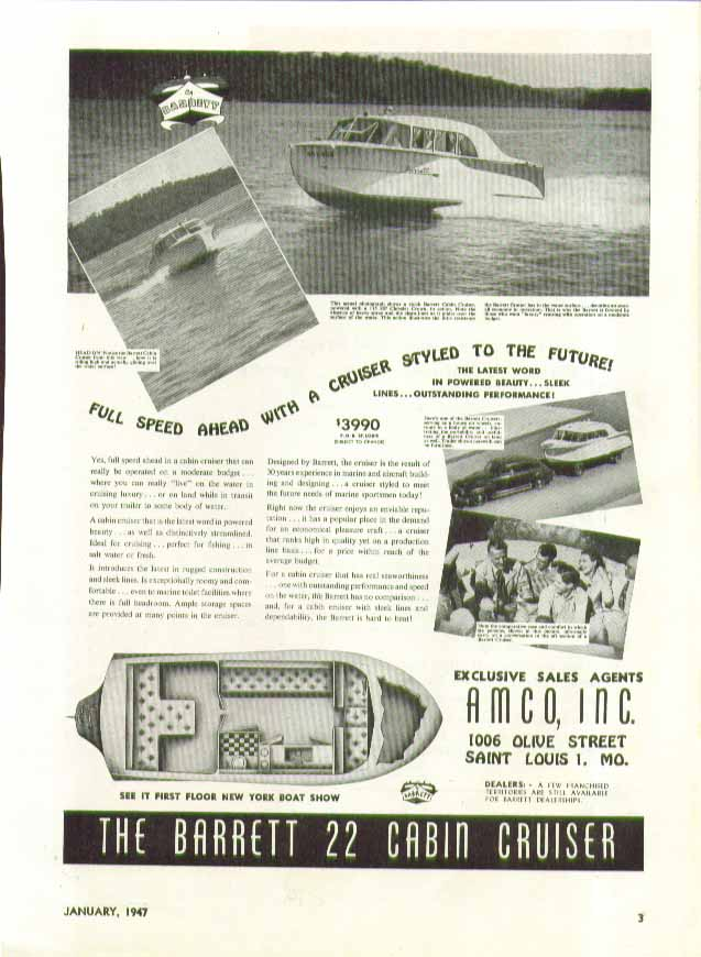 Image for Full speed ahead The Barrett 22 Cabin Cruiser AMCO St Louis MO ad 1947