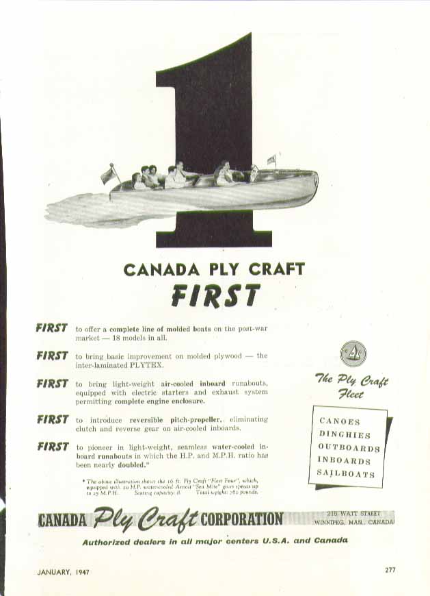 Image for Canada Ply Craft First with full line of molded boats ad 1947 Winnipeg