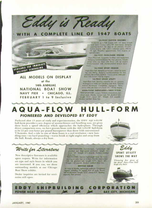 Eddy Shipbuilding is Ready with a Complete Line of 1947 Boats ad