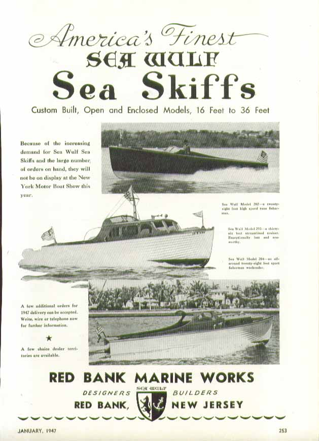 America's Finest Sea Wolf Sea Skiffs Red Bank Marine Works NJ ad 1947