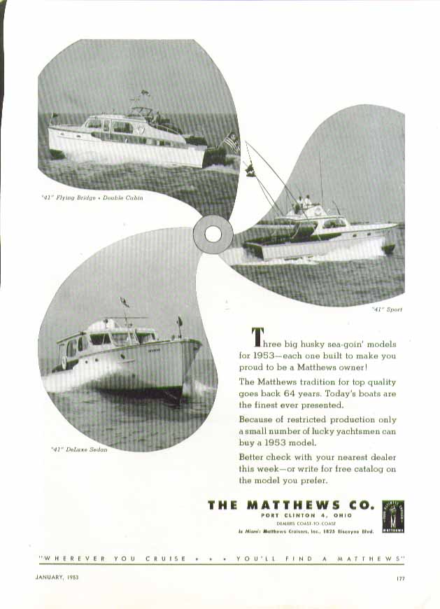 Big husky sea-goin models 41 Flying Bridge Sport & Deluxe Sedan Matthews ad 1953
