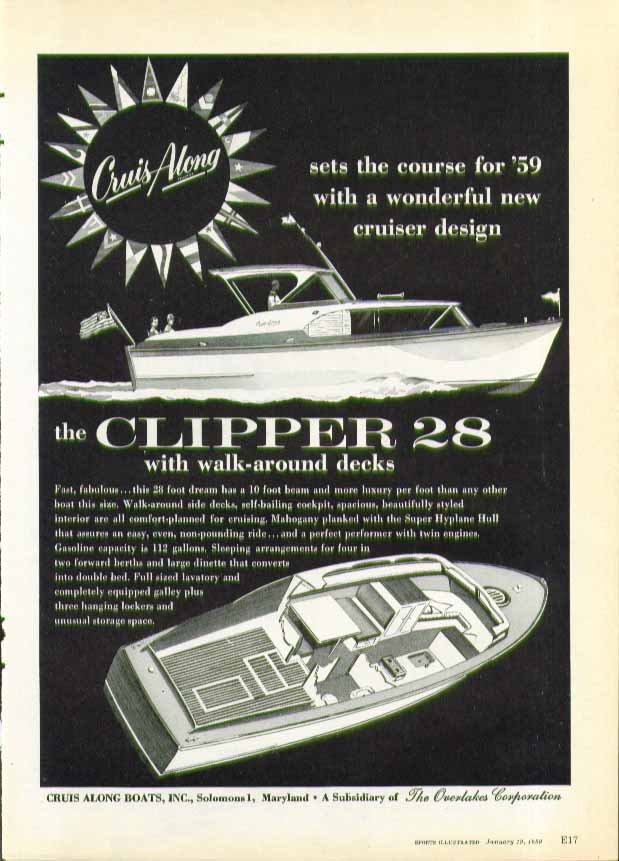 Cruis-Along Clipper 28 sets the course ad 1959 Solomons MD
