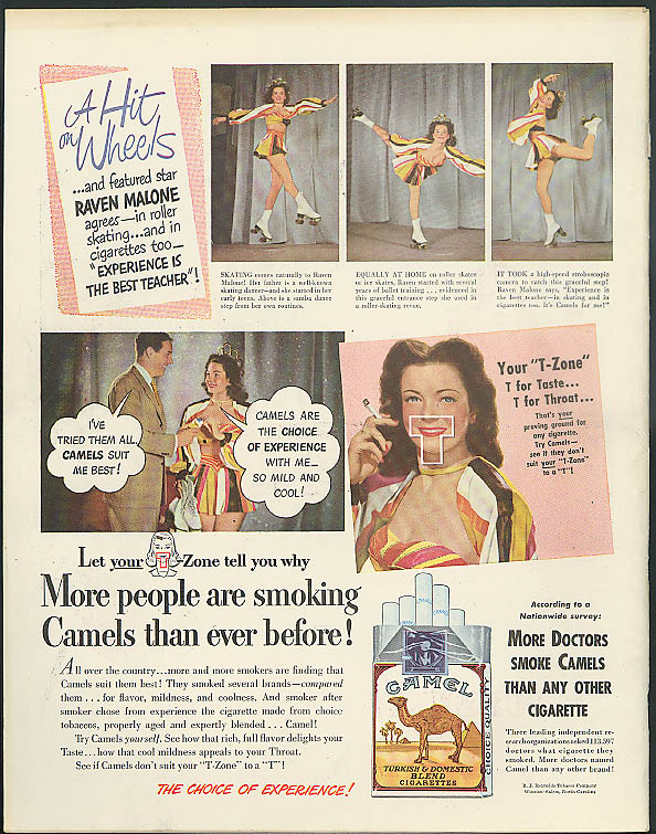 A Hit on Wheels Rollerskating Champ Raven Malone for Camel Cigarettes ad 1948