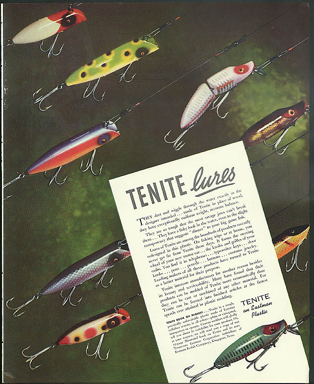Image for Tenite Fishing Lures dart & wiggle through the water Tennessee Eastman ad 1938