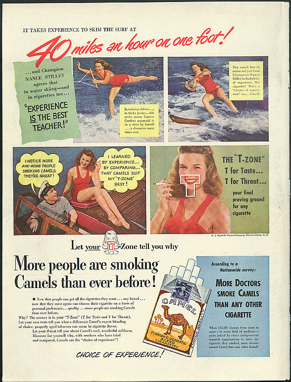 40mph on 1 foot! Waterskiing Champ Nancy Stilley for Camel Cigarettes ad 1948