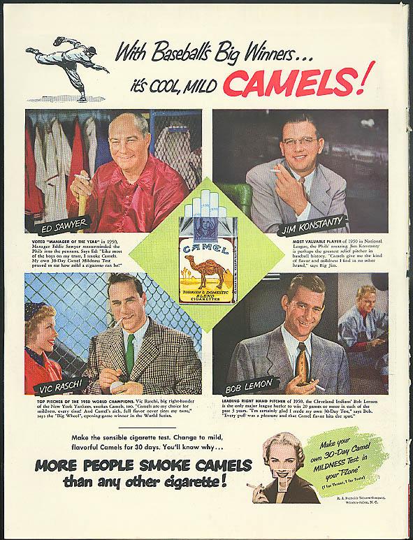 Ed Sawyer Jim Konstanty Vic Raschi Bob Lemon For Camels Cigarettes Ad 1951