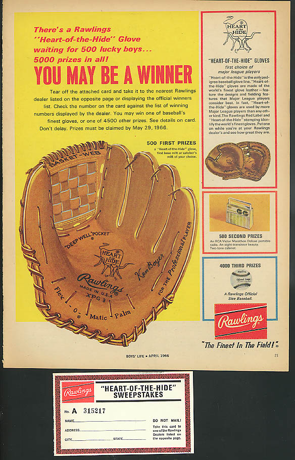 Image for You May be a Winner Rawlings Ken Boyer Baseball Glove Contest ad 1966
