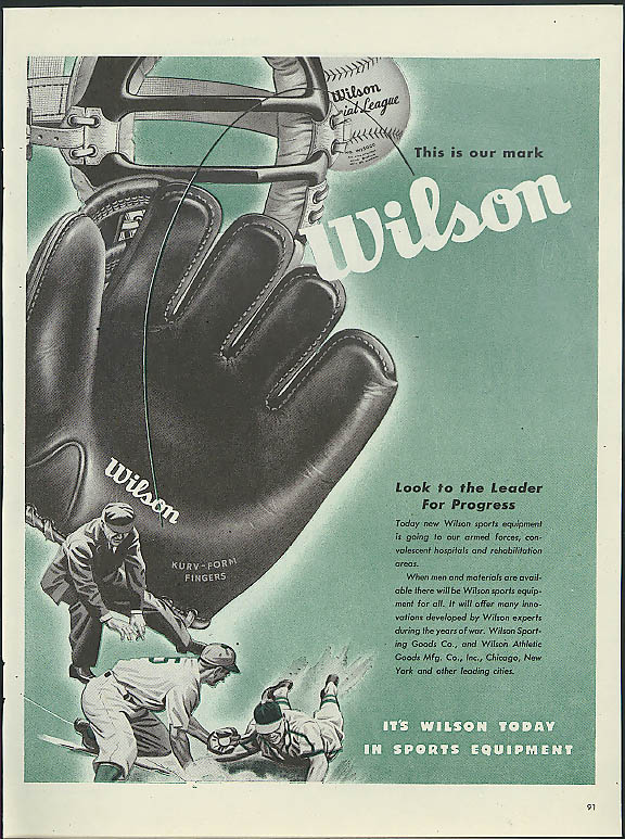 Image for This is our mark Wilson Baseball Glove ad 1945