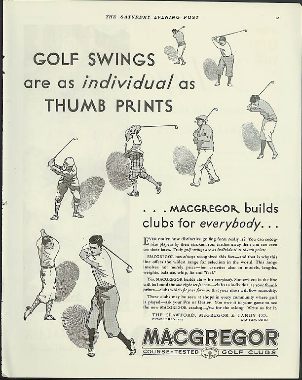 Golf swings as individual as thumb prints Macgregor Golf Clubs ad 1931