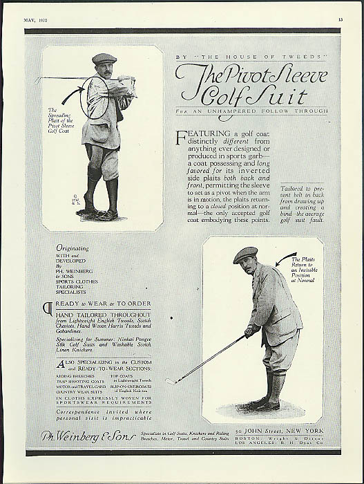 Image for The Pivot Sleeve Golf Suit by Ph Weinberg & Sons New York City ad 1920