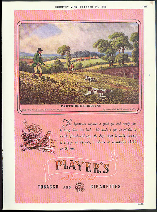 Image for Partridge shooting by Samuel Howitt for Player's Cigarettes ad 1950