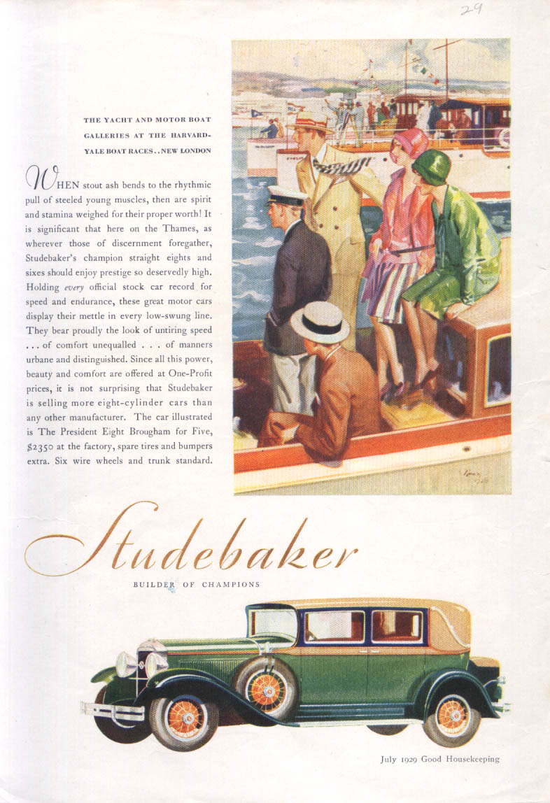 Image for Harvard-Yale Boat Race Studebaker ad 1929