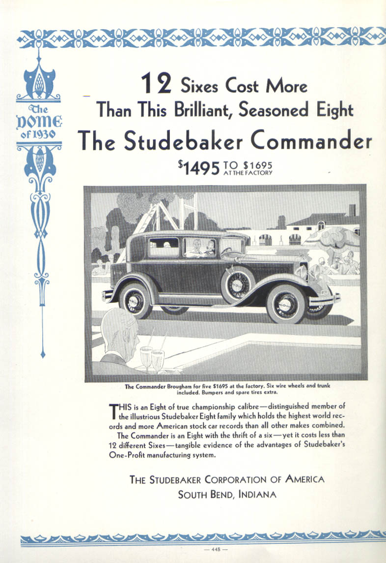 12 Sixes Cost more than Studebaker Commander ad 1930
