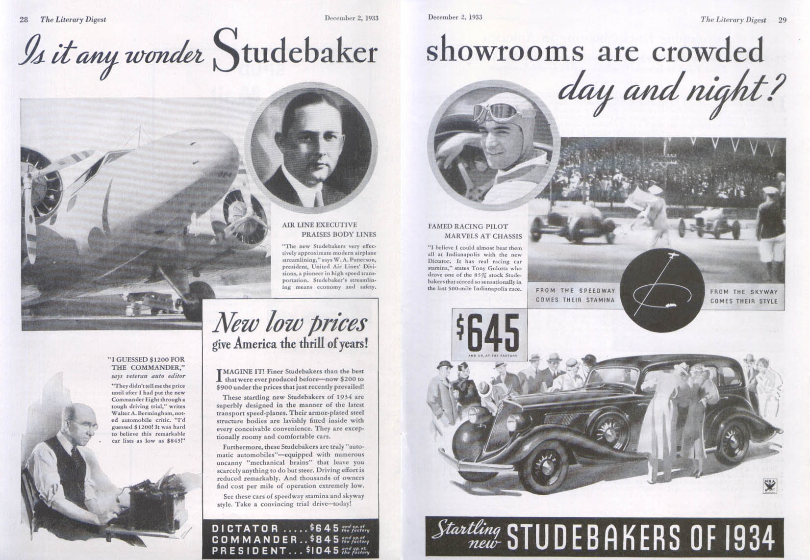 Image for Studebaker's showrooms are crowded day & night ad 1934