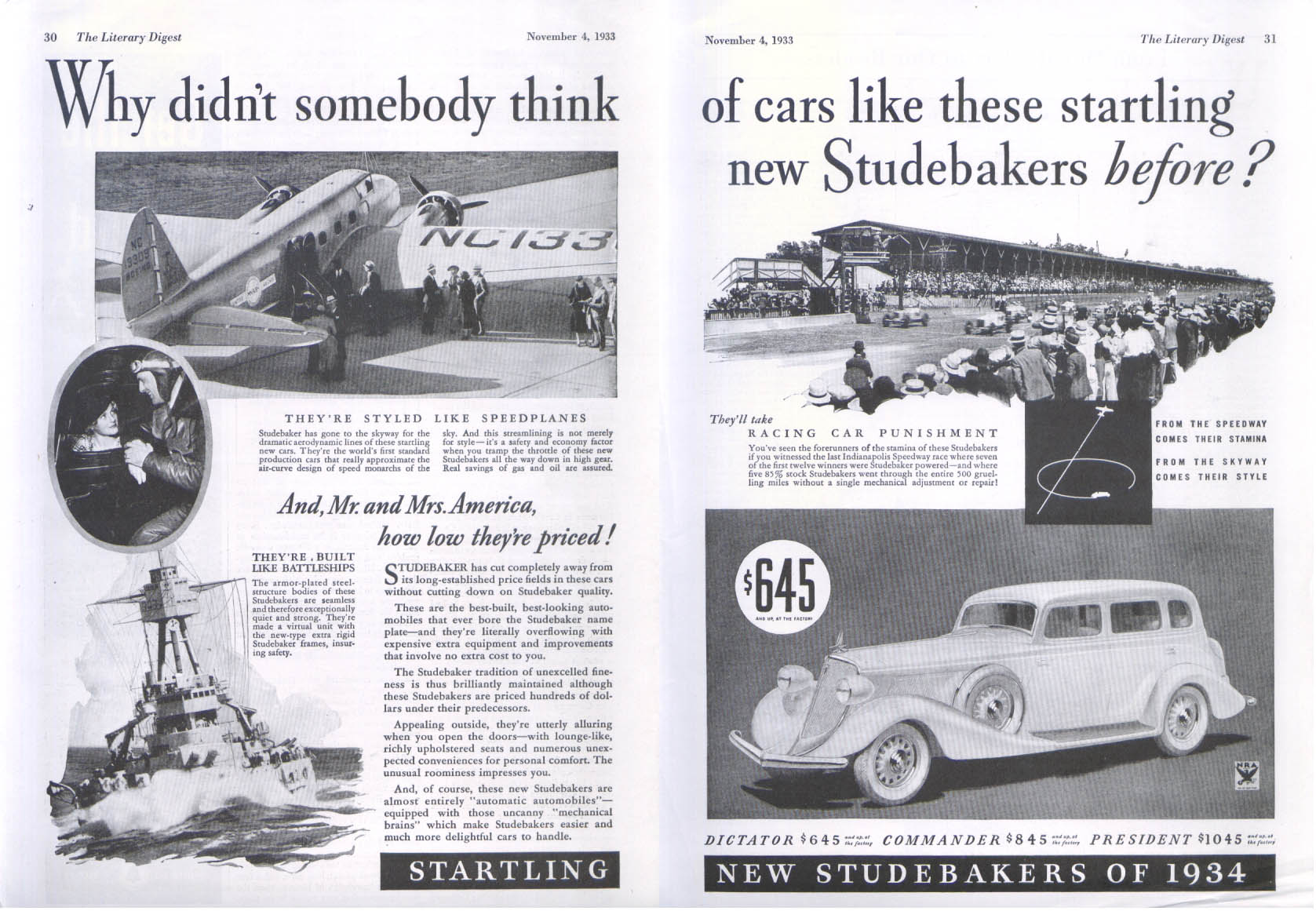 Image for Why didnt somebody think of Studebaker before? Ad 1934 Literary Digest