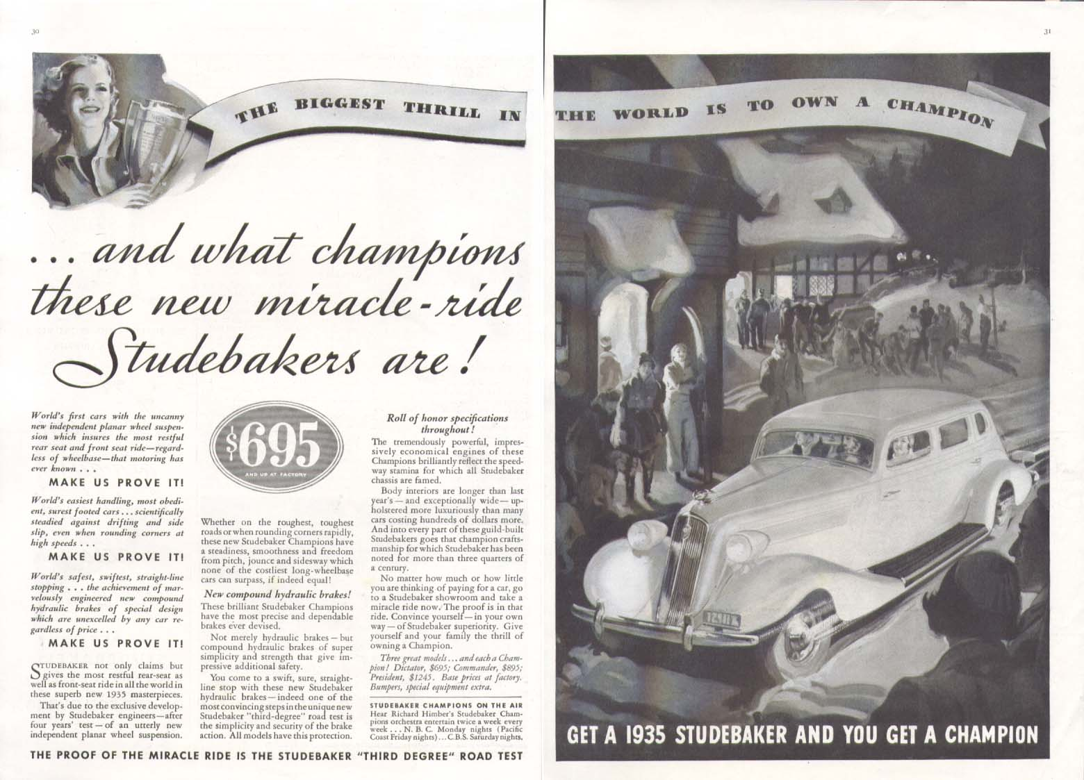 And what champions are Studebaker ad 1935