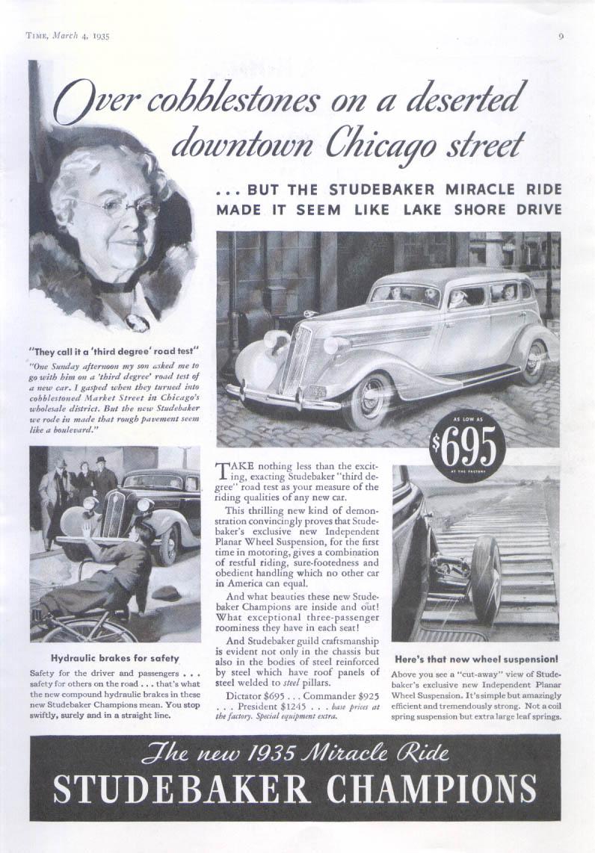 Image for Over cobbestones on deserted street Studebaker ad 1935