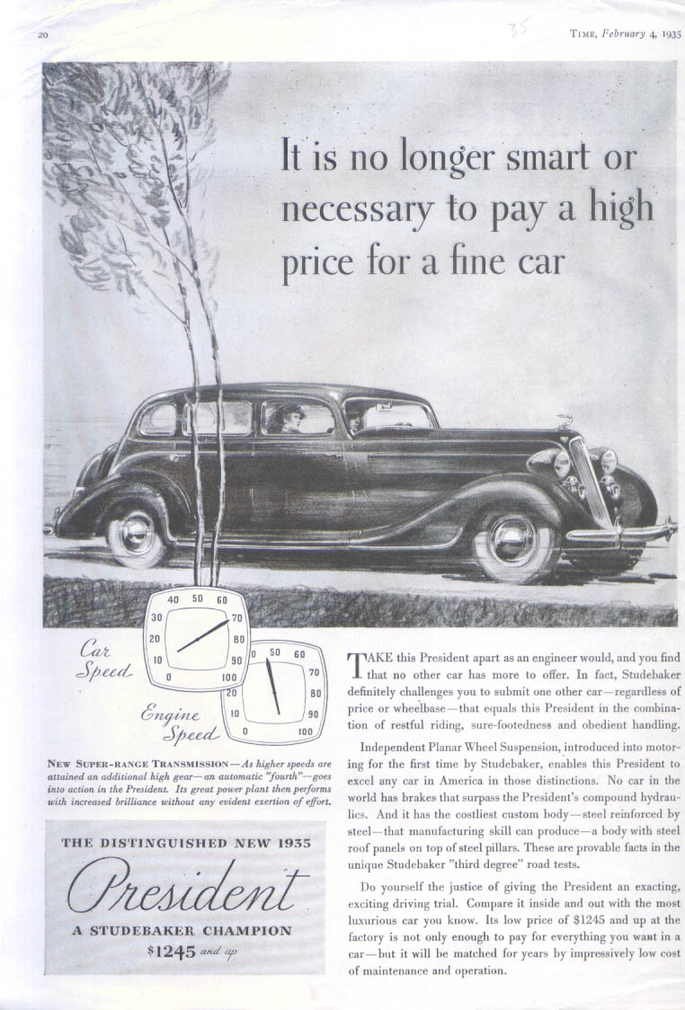 Image for It is no longer smart or necessary Studebaker ad 1935