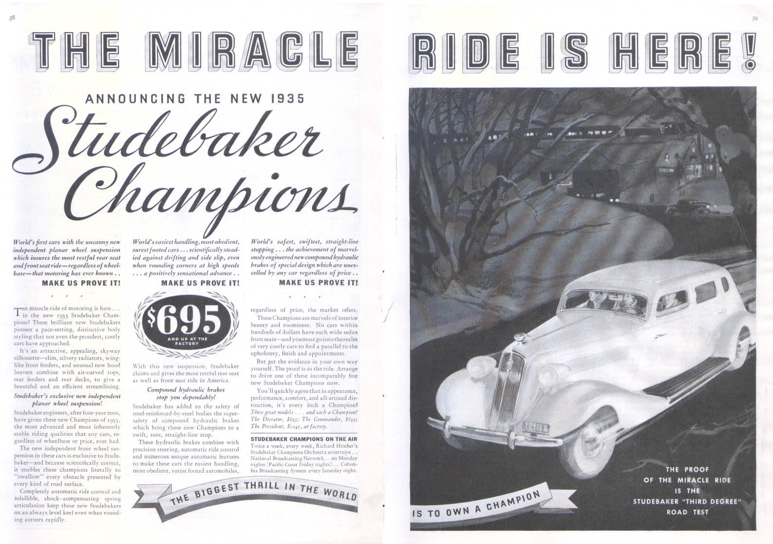 Image for The Miracle Ride is Here! Studebaker ad 1935