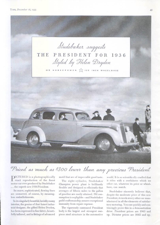 Image for Studebaker President styled by Helen Dryden ad 1936