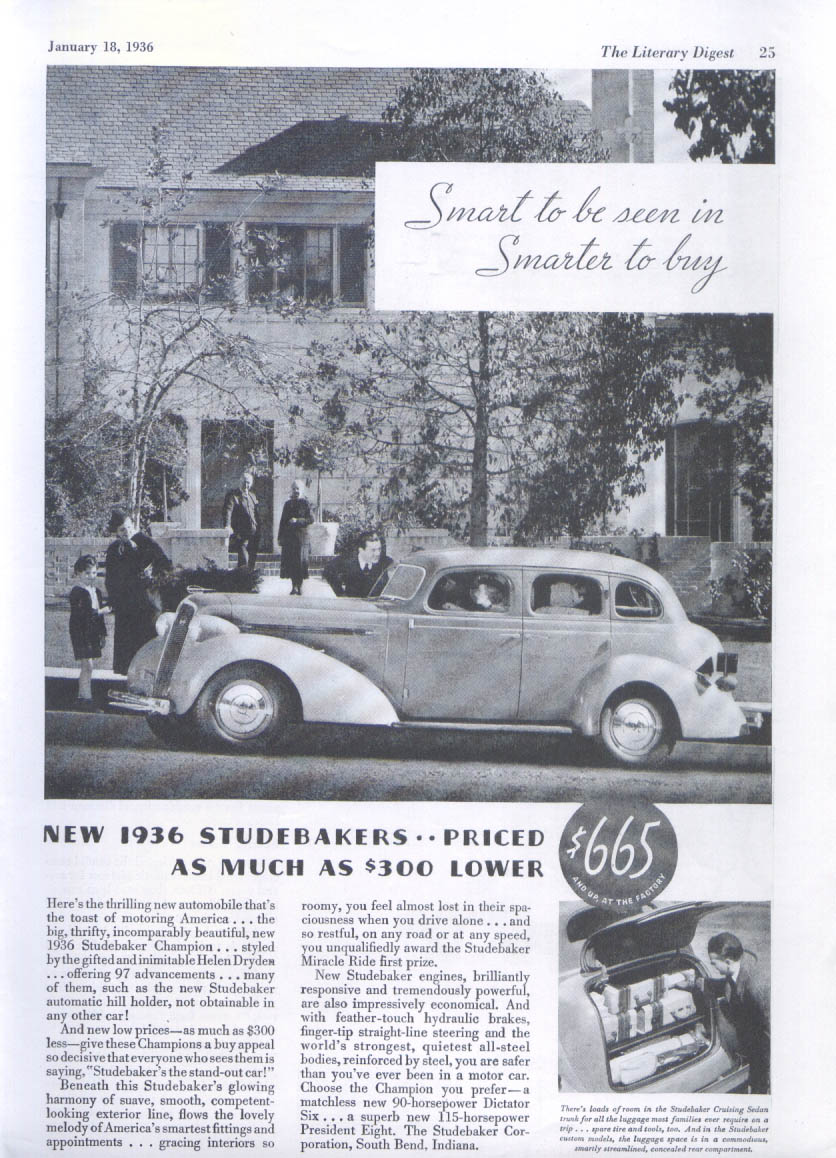 Image for Smart to be seen in Smarter to buy Studebaker ad 1936