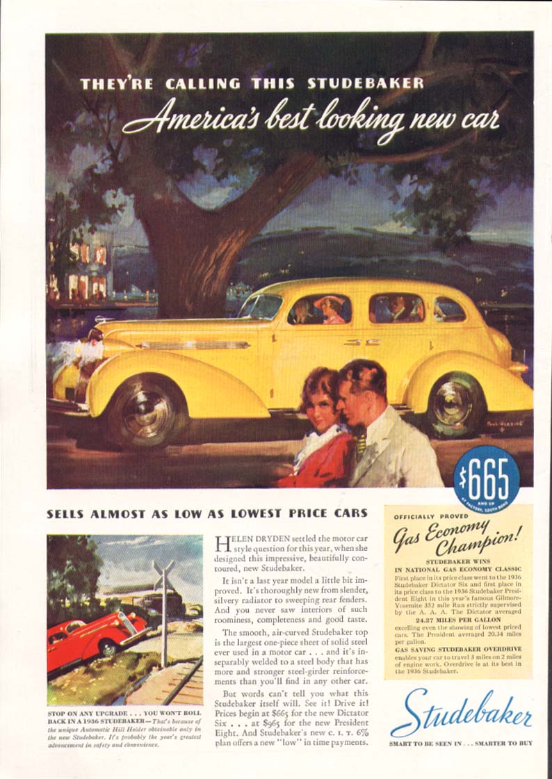America's best looking new car Studebaker ad 1936