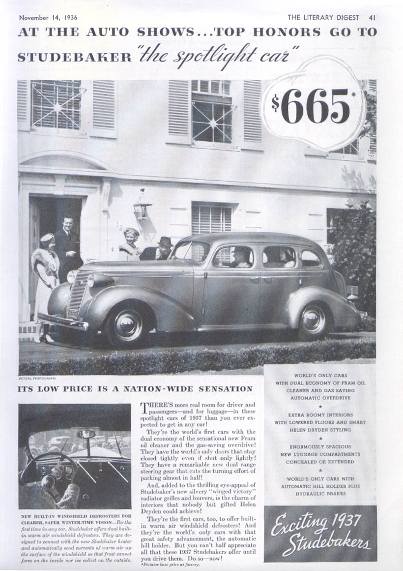 Image for At the Auto Shows top honors go to Studebaker ad 1937