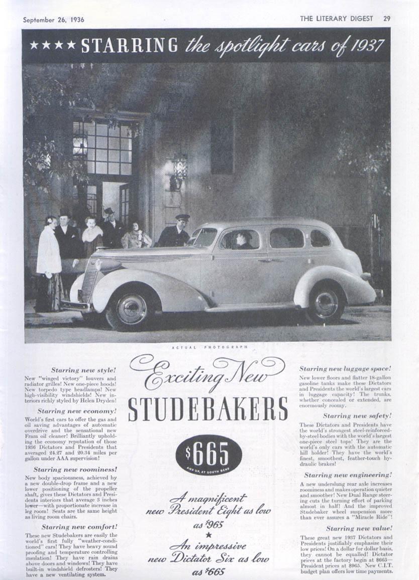 Image for Starring the spotlight cars of 1937 Studebaker ad