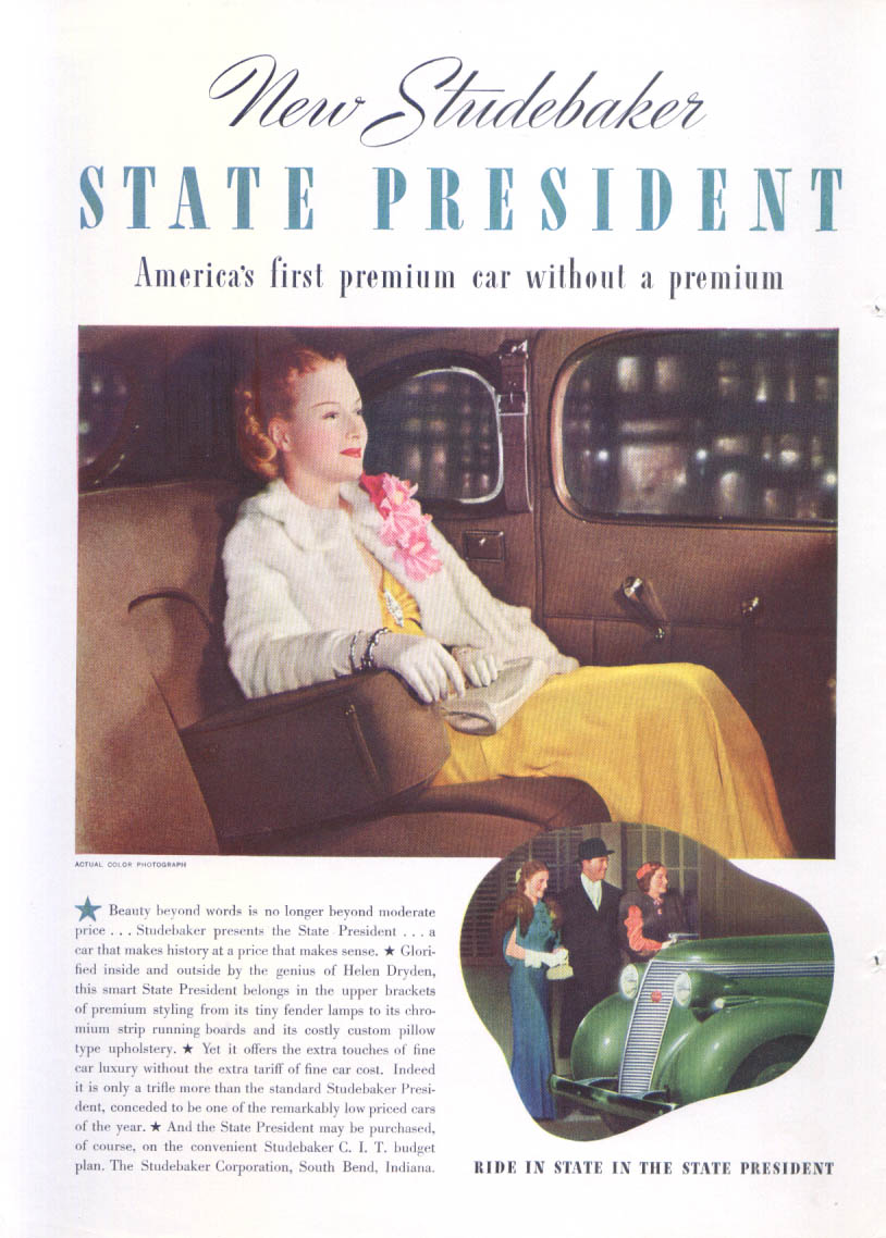 Image for New Studebaker State President without premium ad 1937