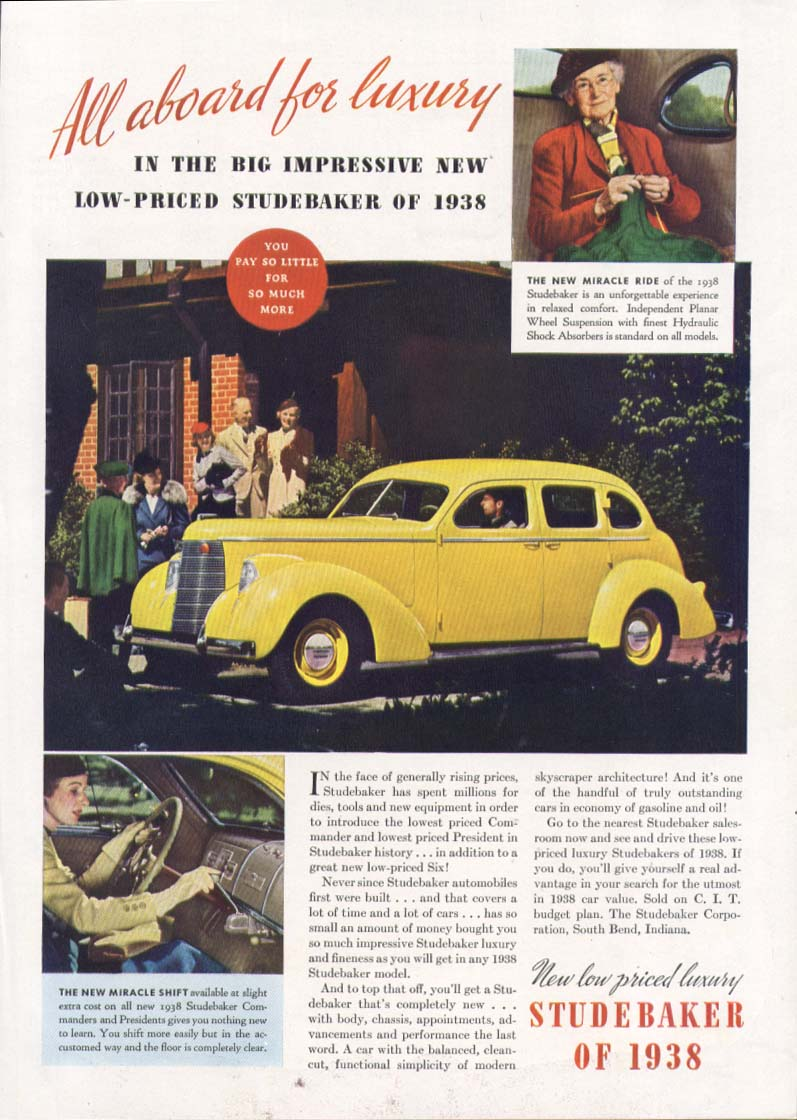 All aboard for luxury in the Studebaker ad 1938