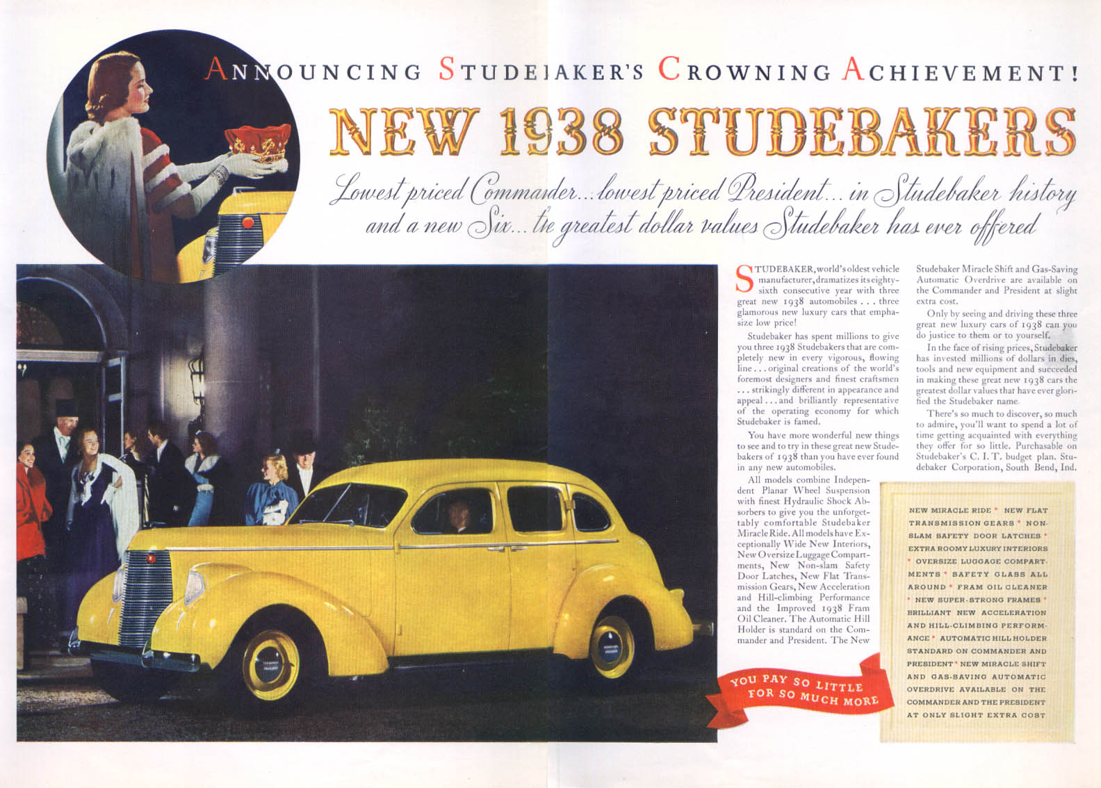 Image for Announcing Crowning Achievement 1938 Studebaker ad