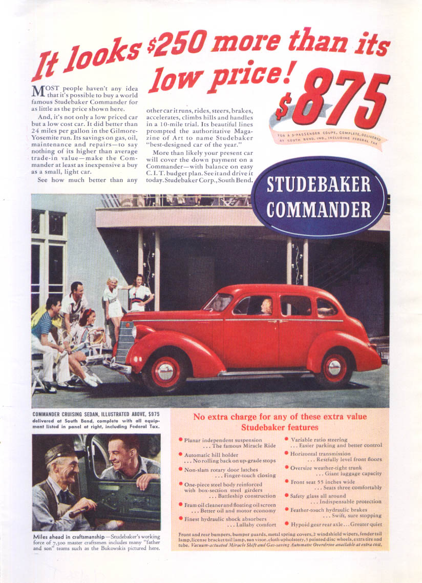 Image for Looks $250 more than its low price Studebaker ad 1938