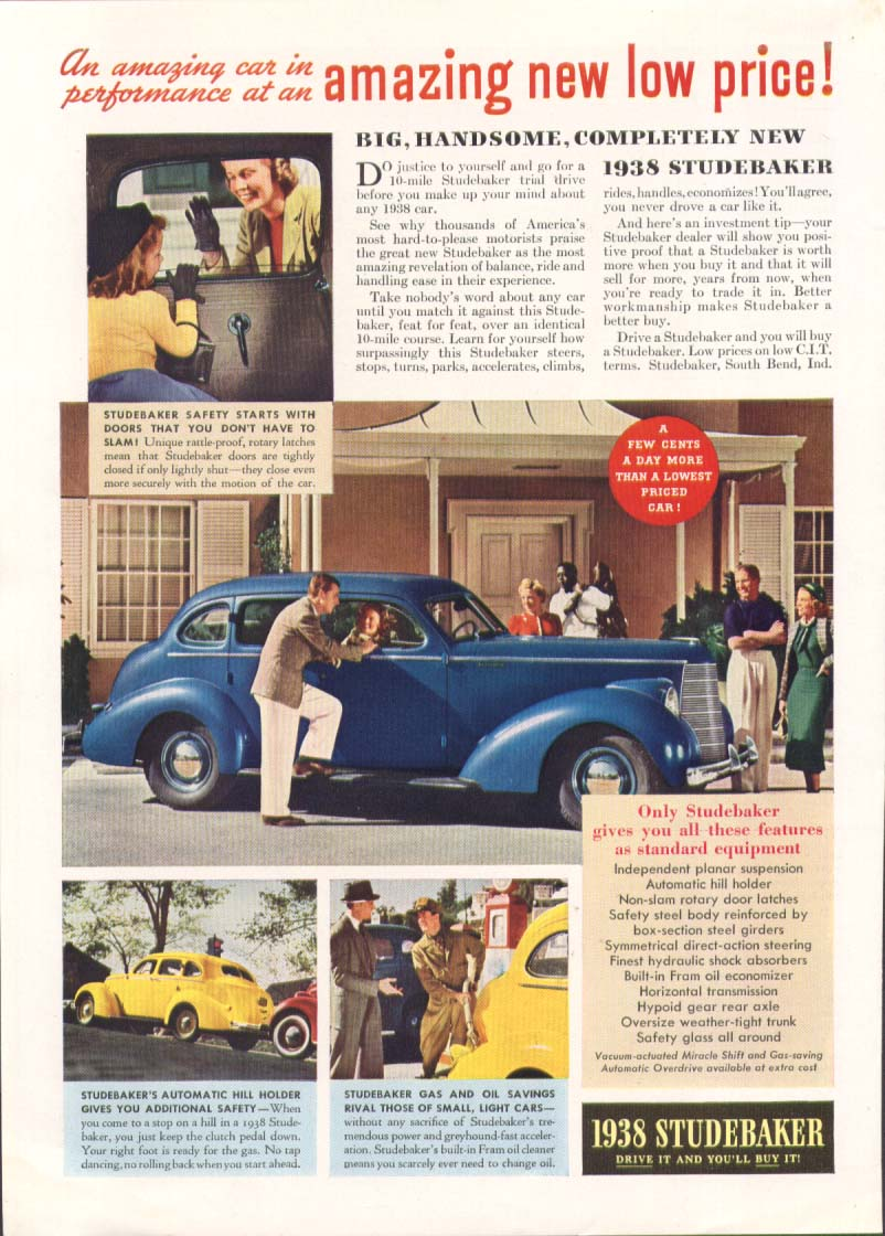 Amazing new low price! Studebaker ad 1938